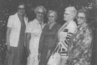 Members and friends at a mid-seventies' get-together. Above, from Left: an unidentified visitor, Sarah-Jane Spratt, Edith Clark, Hilda Mattoon and Barb Pawliuk.